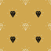 Diamond seamless pattern vector illustration. Hand drawn sketched doodle diamond symbols background