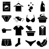 Wash clothes set icons, logo isolated on white background. Underwear washing machine
