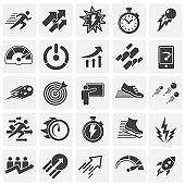Performance icons set on background for graphic and web design. Simple illustration. Internet concept symbol for website button or mobile app.