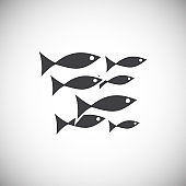 Fish related icon on background for graphic and web design. Simple illustration. Internet concept symbol for website button or mobile app.