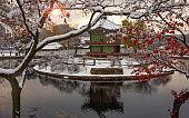 Gyeongbokgung palace Hyangwonjeong Pavilion  in winter Seoul,South Korea.