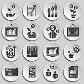 Business related icons set on background for graphic and web design. Simple illustration. Internet concept symbol for website button or mobile app.