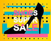 Advertising Banner or Poster with SHOES SUPER SALE Text