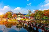 Autumn in  Gyeongbokgung palace, Hyangwonjeong Pavilion, in Seoul,South Korea