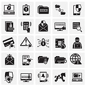 Cyber security icons set on squares background for graphic and web design. Simple vector sign. Internet concept symbol for website button or mobile app.