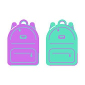 Icon backpack in flat style. School bag