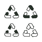 Set of recycling signs. Outline icons in flat style. Ecology, environmental protection.