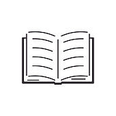Open book with sheets and text. Flat style icon. School textbook, online learning, e-book.