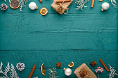 Christmas, New Year. Background with composition, gifts and composition.