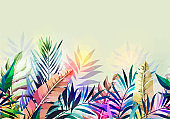 Abstract tropical plants pattern