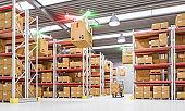 drones work in warehouse