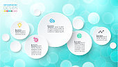 Circles infographics with bubbles soap on pink background.