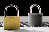 Padlocks on laptop. Internet data privacy information security concept. Antivirus and malware multilayer defense.
