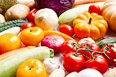 Assortment of fresh vegetables as a background. Seasonal close up farmer table with vegetables.