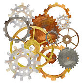 Cogwheels gears connected system. Cooperation or teamwork concept with steampunk style mechanism.