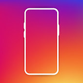 Phone frame template. Modern flat style on a gradient background. Vector illustration.