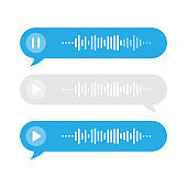 Set blue and gray voice messages icon, event notification. Modern flat style on white background. Vector illustration.