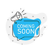 Coming soon of marketing design badge with loudspeaker blue color. Vector illustration on white background.