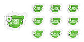 Set of 10 abstract green signs of different protection. Vector illustration.