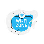 Blue abstraction isolated sticker wi fi zone. Vector illustration.