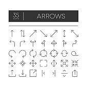 35 icons. Black lines arrows set. Collection of web signs black arrows. Vector illustration on white background