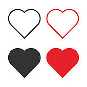 Set of red, gray and black hearts on a white background. Vector illustration.