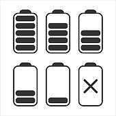 Set of black batteries of different charge on white background. Vector illustration.