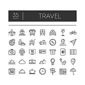 Set of 35 line icons of travel for modern concepts, web and apps on white background. Vector illustration.