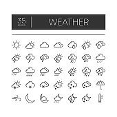 Set of 35 line icons of weather for modern concepts, web and apps on white background. Vector illustration.