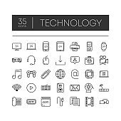 Set of 35 line icons technology for modern concepts, web and apps on white background. Vector illustration.