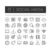 Set of 35 line icons of social media for modern concepts, web and apps on white background. Vector illustration.