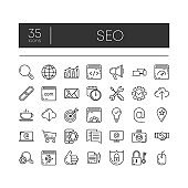 Set of 35 line icons of seo for modern concepts, web and apps on white background. Vector illustration.