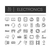 Set of 35 line icons of electronics for modern concepts, web and apps on white background. Vector illustration.