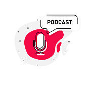 Podcast quote and icon in it. Abstract object on white background. Vector illustration.