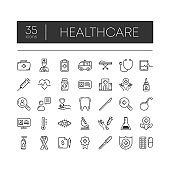 Set of 35 line icons of healthcare for modern concepts, web and apps on white background. Vector illustration.