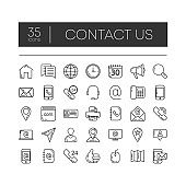 Set of 35 line icons of contact us for modern concepts, web and apps on white background. Vector illustration.