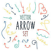Vector of different color arrow set hand draw on white background. Vector illustration.