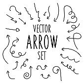 Vector black arrow set hand draw on white background. Vector illustration.