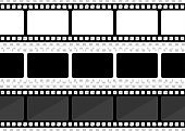 Vector three film strip illustration on transparent background. Vector illustration.