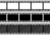 Vector three film strip illustration on white background. Vector illustration.