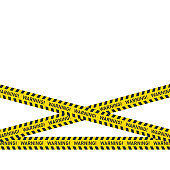 Three danger caution seamless tapes on white background. Vector illustration.
