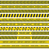 Big set of danger caution seamless tapes on white background. Vector illustration.