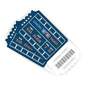Vector two realistic blue designed cinema tickets close up top view isolated on white background. Vector illustration.