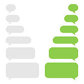 Set of green and gray message bubbles design template for messenger chat. Vector Illustrations.