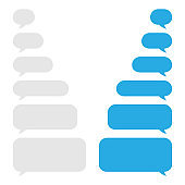 Set of blue and gray message bubbles design template for messenger chat. Vector Illustrations.