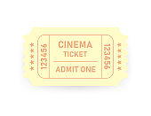 Vector realistic yellow designed cinema ticket close up top view isolated on white background. Vector illustration.