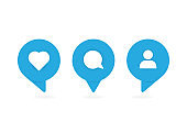 Three blue social media icons. Vector illustration.