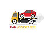 Car assistance on white background. Delivery of the car to the client. Vector illustration.