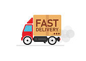 Fast delivery car on white background. Delivery of the product to the client. Vector illustration.