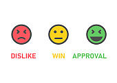 Three different feedback emotions on white background. Vector illustration.